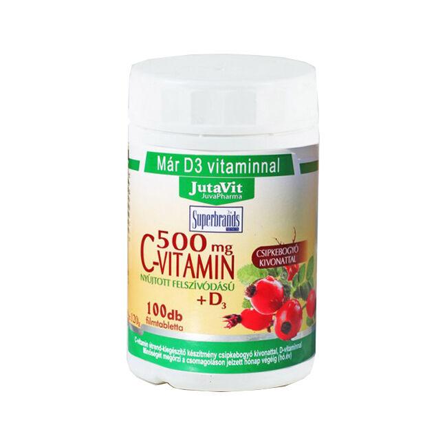 Jutavit C-vitamin 500mg +D3-vitamin csipkebogyó kivonattal nyújtott felszívódású filmtabletta 100x