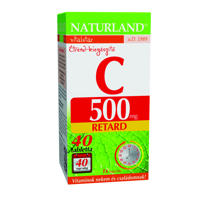 Naturland 500 mg C-vitamin retard tabletta 40x