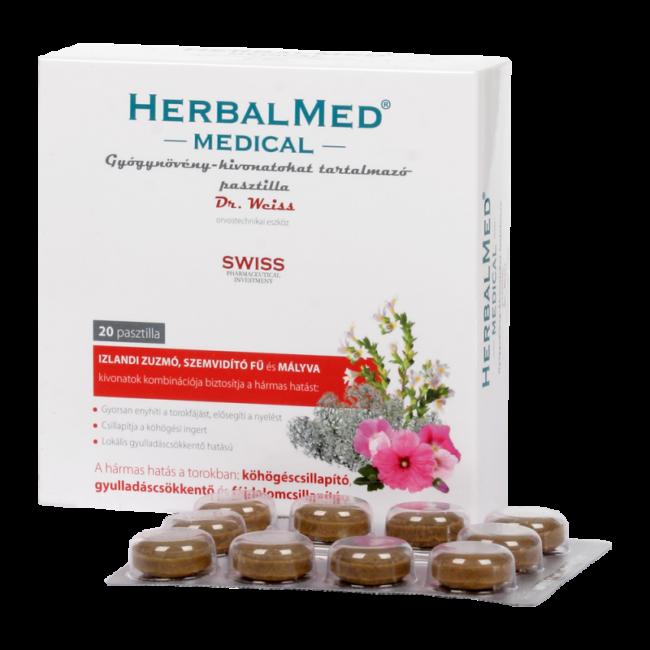 HerbalMed Medical gyógynövénykivonatokat tartalmazó pasztilla 20x