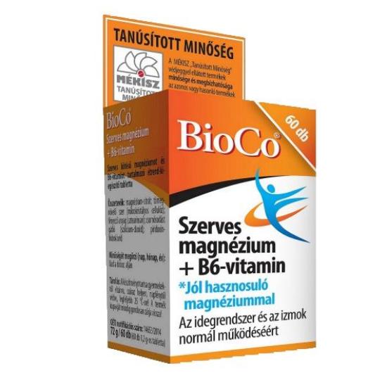 BioCo Szerves Magnézium+B6-vitamin tabletta 60x