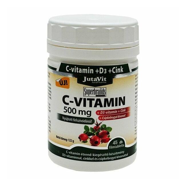 Jutavit C-vitamin 500mg +D3-vitamin+Cink csipkebogyó kivonattal nyújtott felszívódású filmtabletta 45x