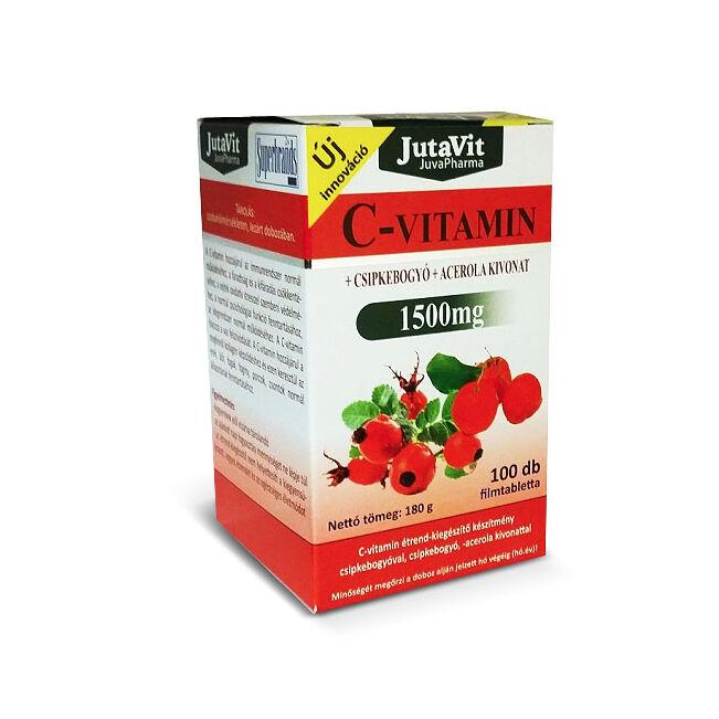 Jutavit C-vitamin 1500mg + Csipkebogyó + Acerola kivonat + D3-vitamin filmtabletta 100x