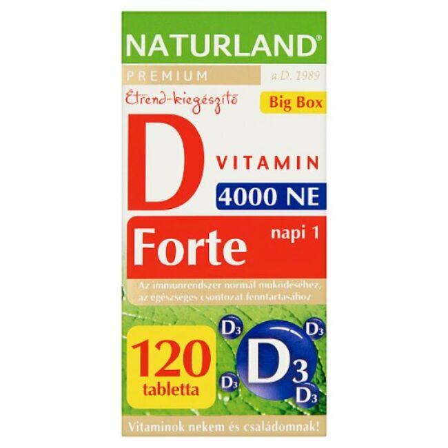 Naturland Prémium 4000NE D-vitamin forte tabletta 120x